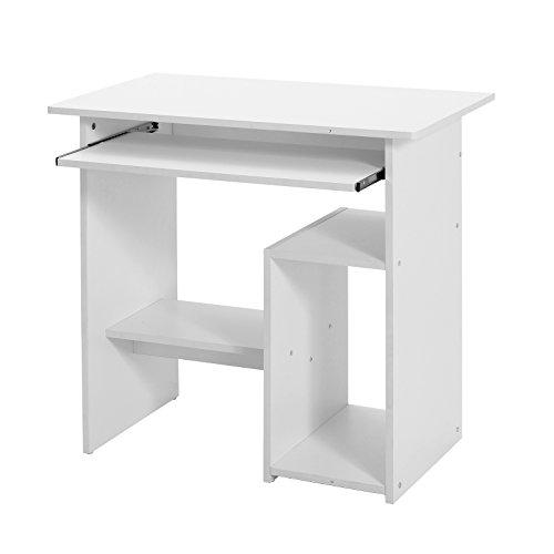 VASAGLE Mesa de Ordenador, Escritorio de Oficina, Mesa de Estudio con Portateclado y Estantes de Almacenaje, Montaje Sencillo, 80 x 48x 76 cm, Blanco ...