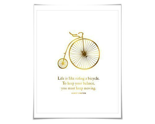 a Bicycle Gold Foil Art Print. 7 Foil Colours/3 Sizes. Albert Einstein Quote. Bike Poster. ()