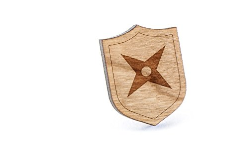 Ninja Star Lapel Pin, Wooden Pin