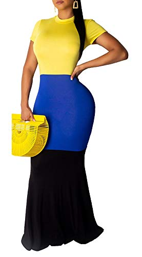 Mock Neck Blocked Color - Blansdi Women Casual Short Sleeve Long Dress Round Neck Color Block Patchwork Bodycon Maxi Dresses Yellow XX-Large
