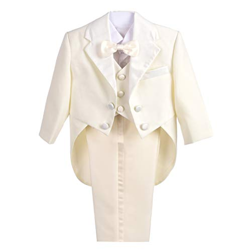 Dressy Daisy Baby-Boys' Classic Tuxedo with Tail 5pc Set Wedding Outfits Size 12 Months Ivory ()