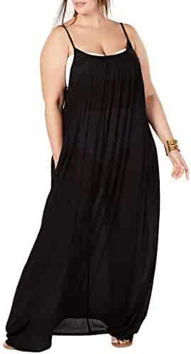 2d31d898c8c24 Womens Plus Size Maxi Cover Ups Beach Dresses Spaghetti Strap Backless  Coverups Swimwear with Pockets