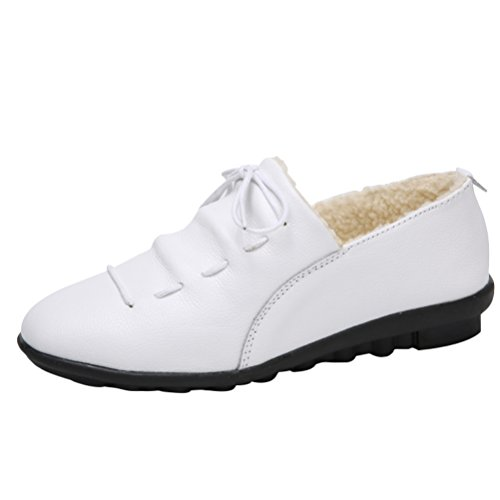 Mordenmiss Womens Winter Velvet Snow Sneaker Flat Low Top Cotton Warm Moccasins White LHNE6u4J