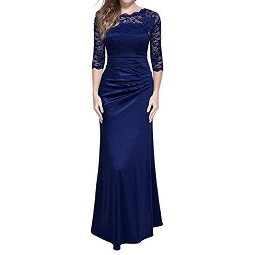 Women's Lace Evening Dress, Elegant Vintage Wedding 2/3 Sleeve Skirt Retro Floral Formal Slim Maxi Dress (Blue, XL) ()