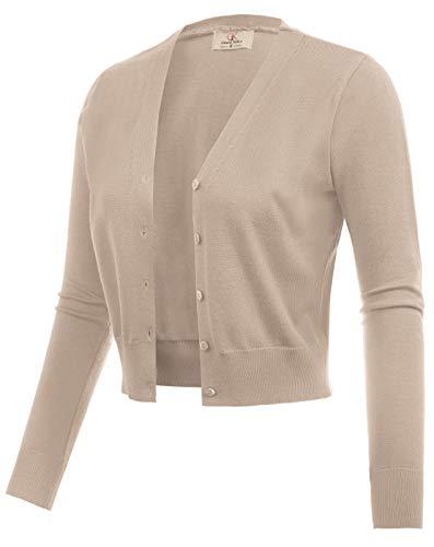 (Women Open Front Bolero Shrug Jacket Cardigan Khaki Size XL CL2000-8)
