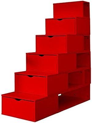 Escalera Cubo de almacenaje tablero DM, altura: 150 cm, color rojo: Amazon.es: Hogar