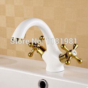 U-Enjoy Weiß Überzug Messing Hochwertiges Gold Doppel Hände Luxuxhauptbadezimmer Küche Elegante Badarmaturen [Kostenloser Versand]