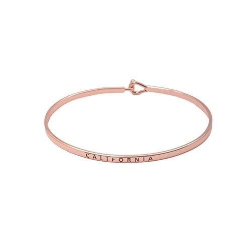 Spinningdaisy Personal Mantra Message Cuff Hook Bracelet  California Rose Gold