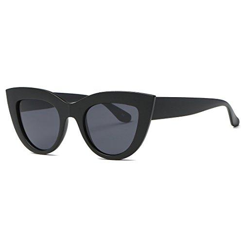Plastic Cat Eye Sunglasses (Kimorn Sunglasses For Women Metal Hinges Cat Eye Plastic Frame Retro Sun Glasses K0568 (Matte Black))