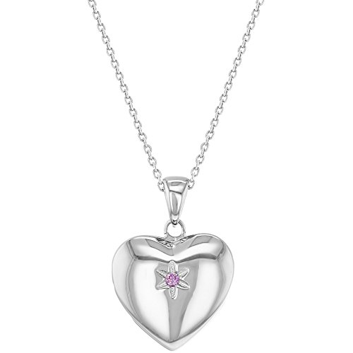 925 Sterling Silver Pink CZ Star Heart Girls Locket Necklace Pendant 16