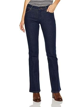 Wrangler Women's Mid Waist Bootcut Jean, Blue, S-06