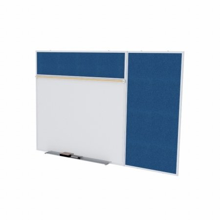 Ghent SPC410B-V-195 4 ft. x 10 ft. Style B Combination Unit - Porcelain Magnetic Whiteboard and Vinyl Fabric Tackboard - Navy