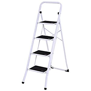 zwan 4 Step Ladder Folding Steel Step Stool Anti-Slip Heavy Duty with 330Lbs Capacity with Ebook
