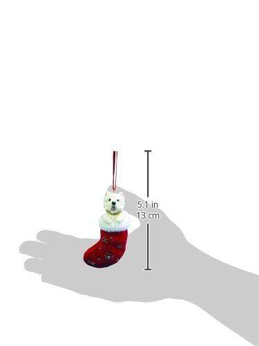 """Adorno navideño Westie con """"Piquitos de Papá Noel"""", detalle pintado a mano y cosido"""