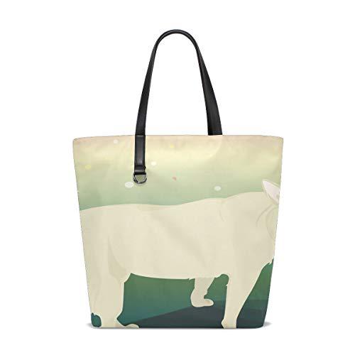 YUMOING Women Dog Color Illustration Pet Laugh Open Heart Shy Handle Satchel Handbags Shoulder Bag Tote Purse Messenger Bags -