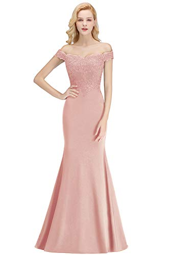 Pink Evening Gowns for Women Formal Off Shoulder Mermaid Prom Dresses 2019,Dusty Rose,8