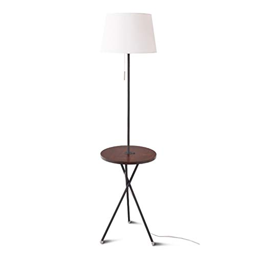 (European Wood Floor Lamp | Standing Lamp with Small Table for Living Room Bedroom Study Room Height: 156cm (Color : Walnut Color - White lampshade))