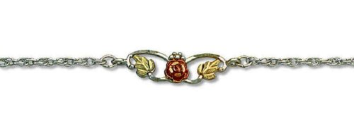 Landstroms Black Hills Silver Heart Ankle Bracelet with 10k Gold Rose - MRL07010A