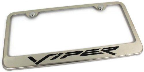 dodge-viper-engraved-chrome-frame-metal-mirror-chrome-license-plate-frame