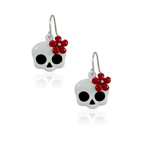 New Cute Skull With Crystal Flower Dangle Earrings Nickel Free Jewelry (Red Flower) ()