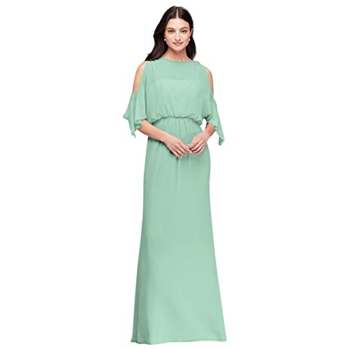 David's Bridal Cold-Shoulder Blouson Chiffon Bridesmaid Dress Style F19712, Mint, 22]()