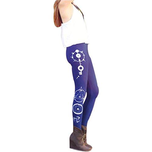 Price comparison product image Women Lady Skinny Xmas Christmas Deer Print Stretchy Jegging Pants Slim Geometric Leggings(Blue-3, CN S(US XS))
