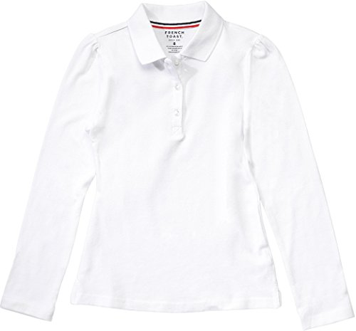[French Toast School Uniform Girls Long Sleeve Stretch Pique Polo, White, Large (10/12)] (French Toast Long Sleeve Polo Shirt)