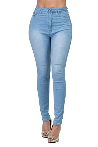 - LOVER BRAND FASHION High Waisted-Rise Ladies Multi-Color Denim Stretch Skinny Colored Pants Jeans For Curvy Women Olive, Light Blue, Small