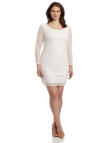 Star Vixen Women's Plus-Size 3/4 Sleeve V-Back Lace Dress, Ivory, 2X