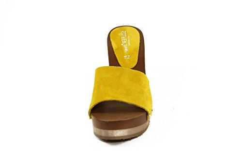 SilferShoes - Zoccolo in vero legno e pelle di camoscio, colore giallo