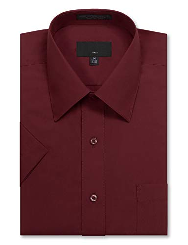 JD Apparel Men's Regular Fit Short Sleeve Dress Shirts 18-18.5N XX-Large Burgundy ()