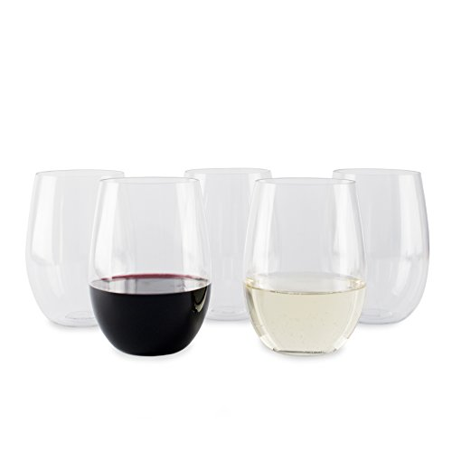 6 Pack Stemless Unbreakable 16 Oz Tritan Plastic Wine Glasses - Reusable and Dishwasher safe- Environmentally friendly design (Pack of 6)