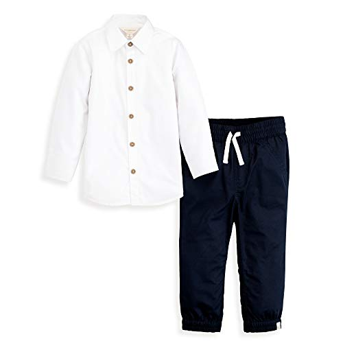 Burt's Bees Baby Boys' Toddler Top and Pant Set, Tee and Joggers Outfit, 100% Organic Cotton, White Button-Up & Navy, 4T