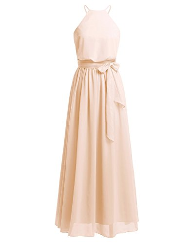 iiniim Womens Halter Chiffon Wedding Maxi Dress Evening Party Bridesmaid Long Dresses at Amazon Womens Clothing store: