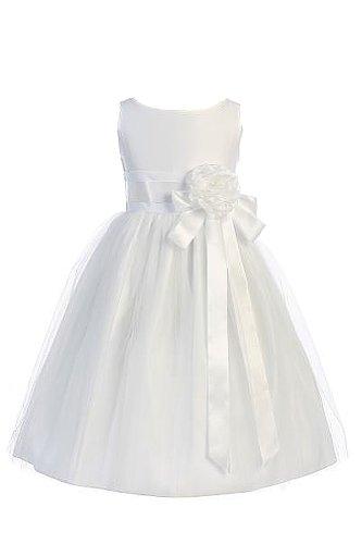 White Satin Tulle Dress - 9