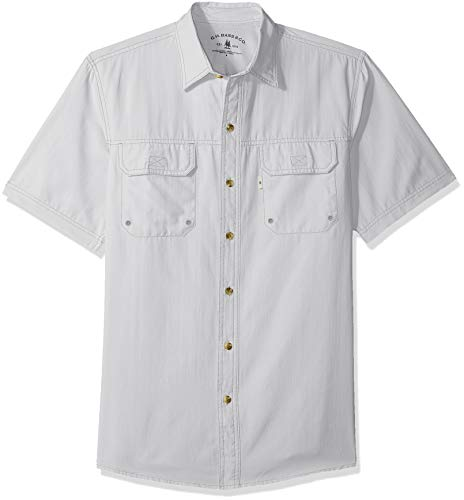 G.H. Bass & Co. Men's Explorer Short Sleeve Button Down Fishing Shirt Solid Flap Pocket, Quiet Gray 1, X-Large