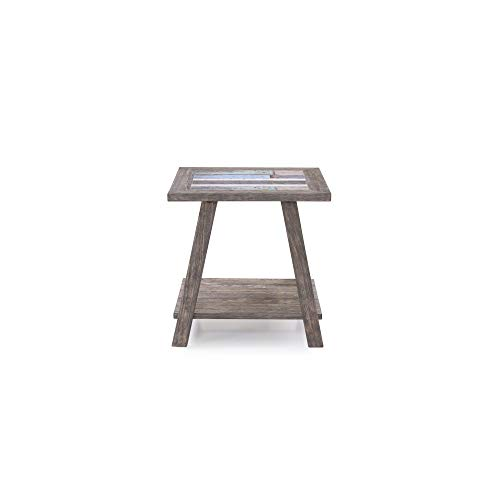 Empire Square End Table in Cement Gray with Ceramic Tile Top And Open Wood Shelf, by Artum Hill (End Cement Table Top)