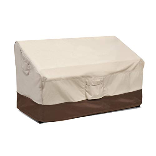 Vailge Heavy Duty Patio Bench Loveseat Cover, 100% Waterproof Outdoor Sofa Cover, Lawn Patio Furniture Covers with Air Vent, Small(Standard), Beige & Brown (Porch Used Furniture)
