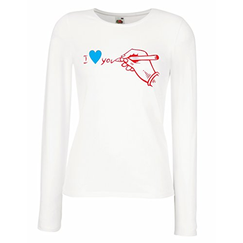 lepni.me Women's T-Shirt I Love You, Perfect St. Valentines Day Outfits (X-Large White Red) (Gerade Für Die Männer)