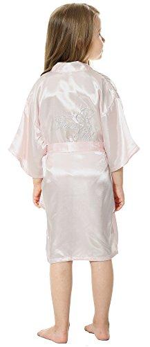 Embroidered Satin Robe (JOYTTON Girl's Satin Kimono Robe With Embroidered Flower Girl(10,Light Pink))