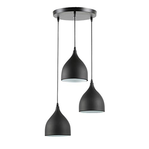 Chandelier Retro - Dining Room Living Room Office Bar Table Aluminum Three-Head Lamp(Without Light Source) (Color : Black)