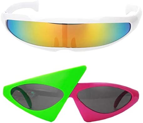 B Baosity 2X Gafas de Sol Fiesta Accesorios Fotografía Futurista Estrecha Hecho