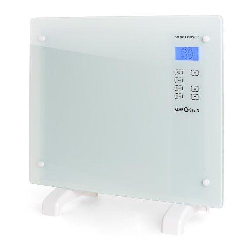 Klarstein HT006GL Designer Glaskonvektor Konvektor-Heizung elektrisch (1000W , für Räume bis 40m² Fläche, Sicherheitsglas) weiß
