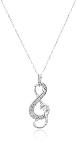 10k White Gold Diamond Treble Clef Pendant Necklace (1/10 cttw, I-J Color, I2-I3 Clarity) - 10k White Gold Pendant Necklace