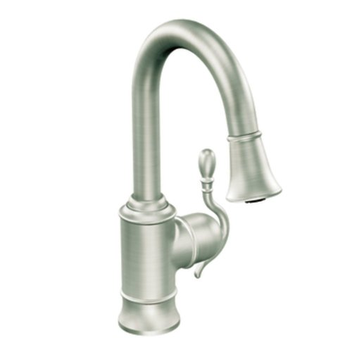 Moen S6208CSL Woodmere One-Handle High Arc Pulldown Bar Faucet Featuring Reflex, Classic Stainless by Moen