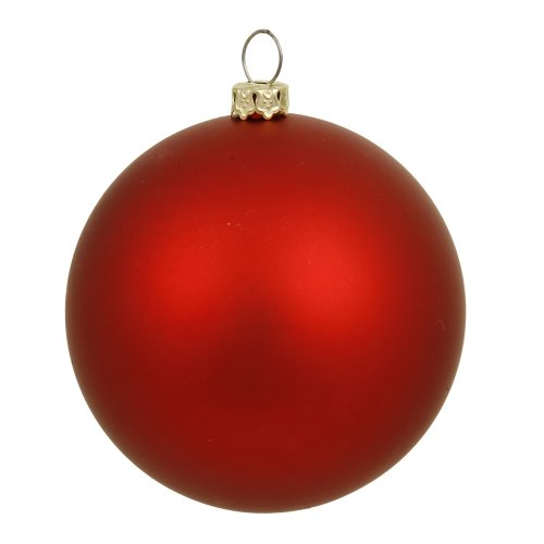 Vickerman Matte Finish Seamless Shatterproof Christmas Ball Ornament, UV Resistant with Drilled Cap, 6 per Bag, 4
