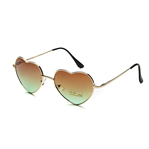 Dollger Heart Sunglasses for Women Cute Mirrored Sunglasses Gold Thin Metal Frame Brown - Cute Aviator Sunglasses