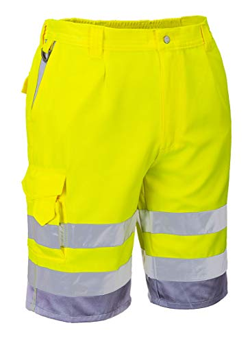 Portwest E043YGYL Hi-Vis P/C Shorts 1739.11 cc Textile, Size- Large, Yellow/Grey