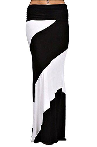 ColorMC Women's Bamboo Tie-Dye Maxi Skirt 2XL Colorblockwhite