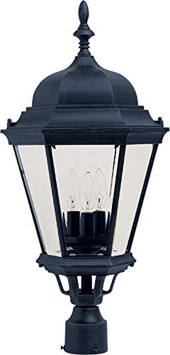 Maxim Lighting 1007BK Westlake 3-Light Post Mount, Black